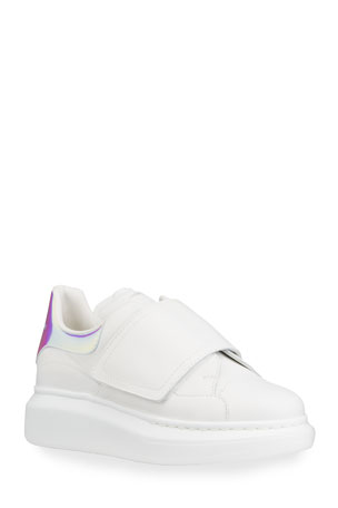 Alexander McQueen Holographic Leather Grip-Strap Sneakers, Toddler/Kids