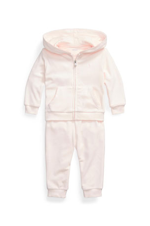Ralph Lauren Childrenswear Girl's Wool-Blend Velour 2-Piece Jogger Set, Size 6-24M