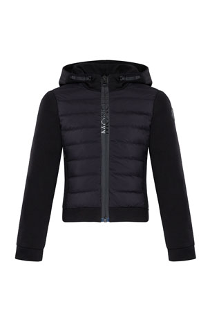 Moncler Girl's Quilted Zip-Up Fleece Hooded Jacket, Size 8-14