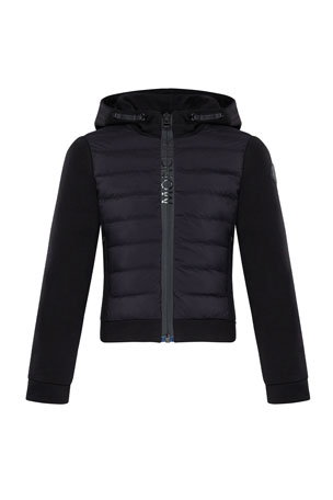 Moncler Girl's Quilted Zip-Up Fleece Hooded Jacket, Size 4-6