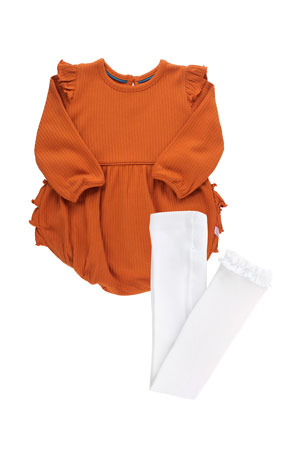 RuffleButts Girl's Orange Spice Rib Knit Bubble Romper w/ Knit Tights, Size 0-24M