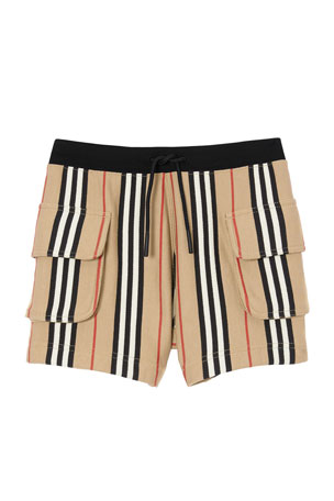 Burberry Girl's Nala Icon Stripe Drawstring Shorts, Size 3-14