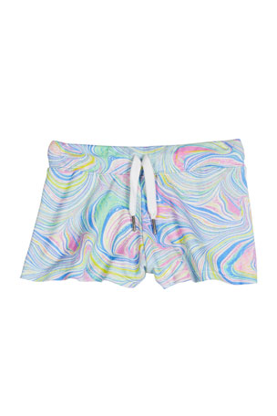 Flowers by Zoe Girl's Marble Printed Drawstring Shorts, Size S-XL