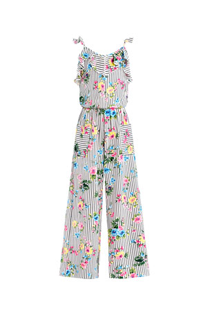 Hannah Banana Girl's Floral Striped Sleeveless Ruffle Jumpsuit, Size 7-16