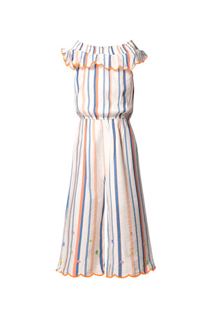 Hannah Banana Girl's Striped Ruffle Off-the-Shoulder Jumpsuit, Size 7-16