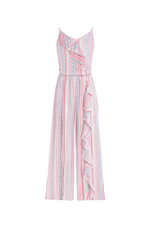 Hannah Banana Girl's Striped Cascading Ruffle Jumpsuit, Size 7-16