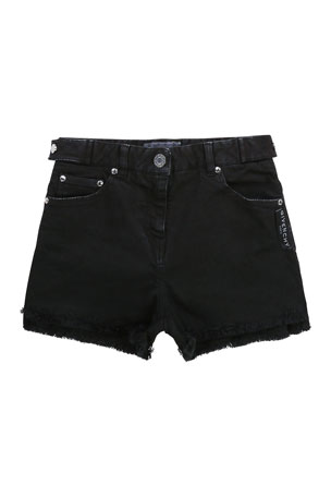Givenchy Girl's Logo-Print Raw-Edge Denim Shorts, Size 4-10