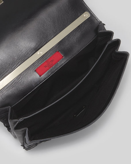 Girello Large Leather-Lace Shoulder Bag, Black