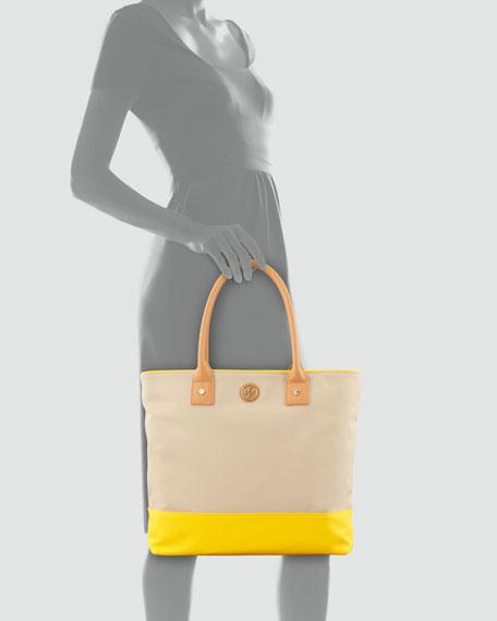 Colorblock Coated Canvas Tote Bag, French Khaki/Daisy