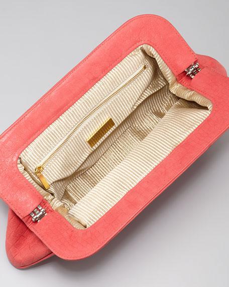 Tatum Crocodile-Embossed Shimmery Clutch Bag, Coral