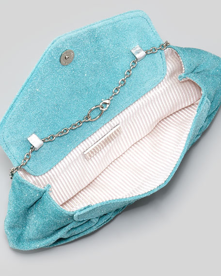 Diana Glittered Clutch Bag, Turquoise