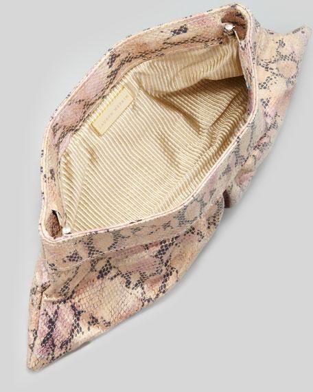 Louise Snake-Print Clutch Bag, Pink