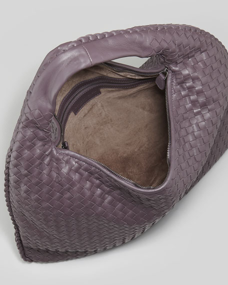 Woven Large Leather Hobo Bag, Plum Gray
