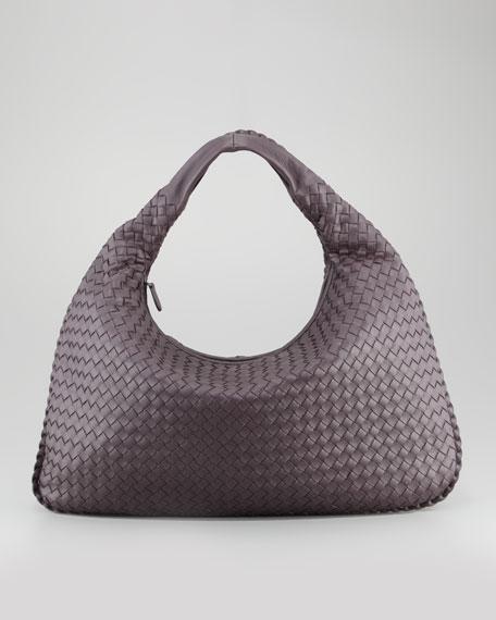 Woven Large Leather Hobo Bag, Plum Gray