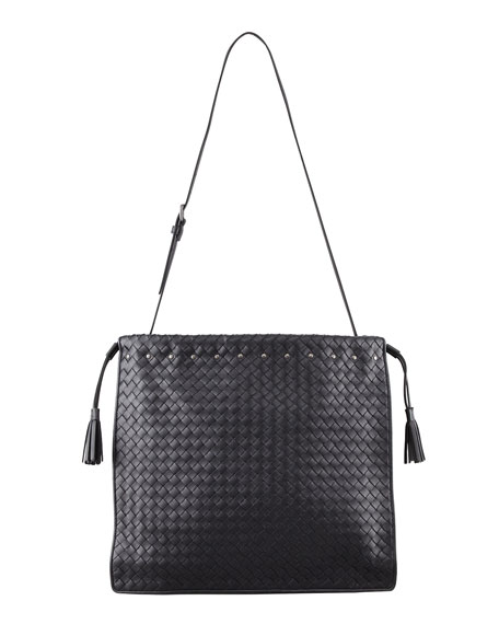 Drawstring Woven Shoulder Bag, Black