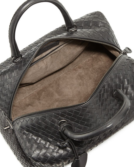 Large East-West Woven Boston Bag, Black