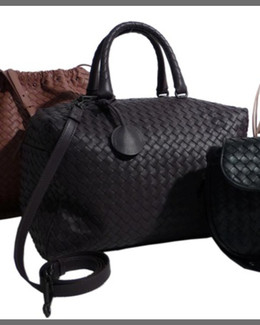 Bottega Veneta Large East-West Woven Boston Bag, Black