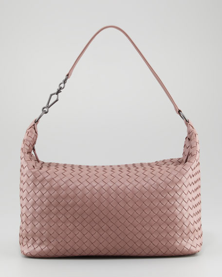 Medium Woven Zip Hobo Bag, Mauve
