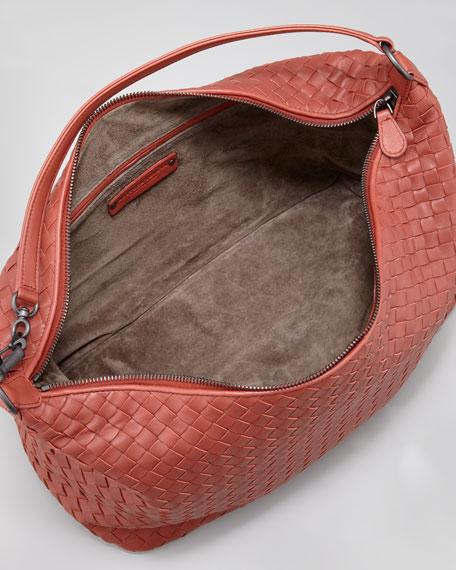 Medium Woven Zip Hobo Bag, Rusty Red