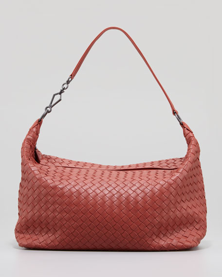 Medium Woven Zip Hobo Bag, Rusty Red