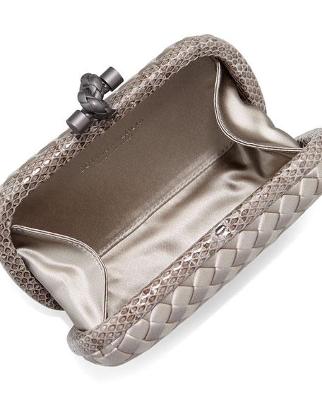 Woven Satin Knot Minaudiere, Light Gray