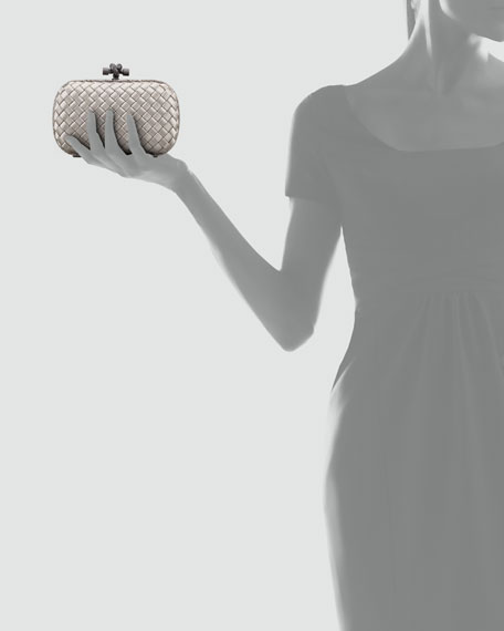 Woven Satin Knot Minaudiere, Light Gray
