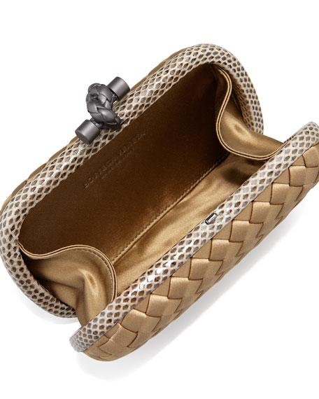 Woven Satin Knot Minaudiere, Bronze