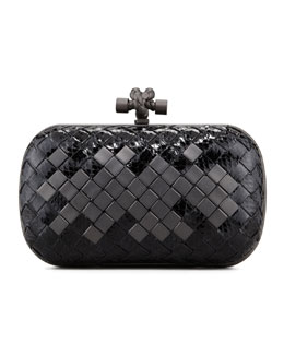 Bottega Veneta Woven Snakeskin Clutch Bag, Black