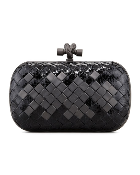 Woven Snakeskin Clutch Bag, Black