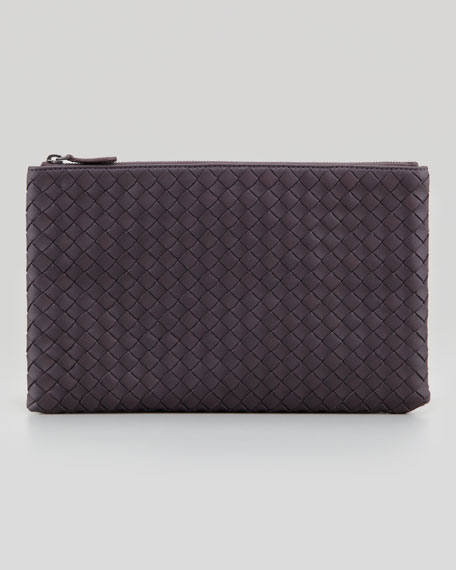 Extra Large Flat Cosmetic Bag, Plum