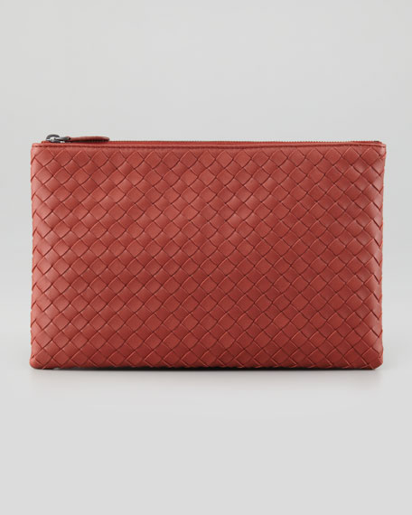 Extra Large Flat Cosmetic Bag, Rusty Red