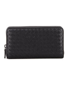 Bottega Veneta Woven Leather Continental Zip Wallet, Black