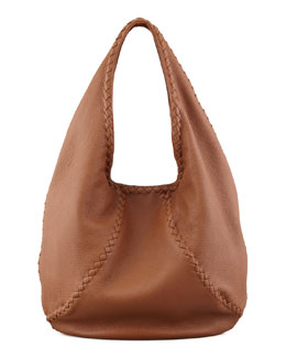 Bottega Veneta Medium Open Leather Shoulder Hobo Bag, Dark Brown