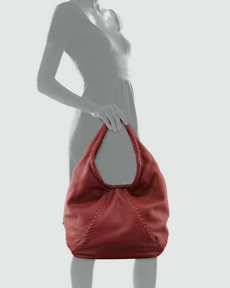 Cervo Hobo Medium Bag, Dusty Red