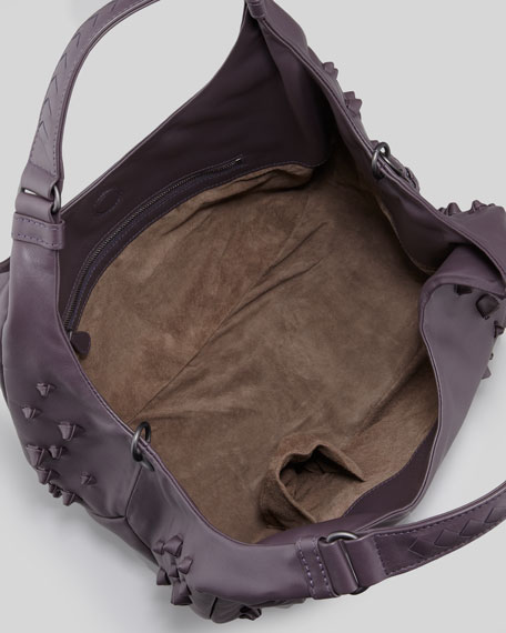 Campaigna Small Knotted Shoulder Bag, Plum Gray