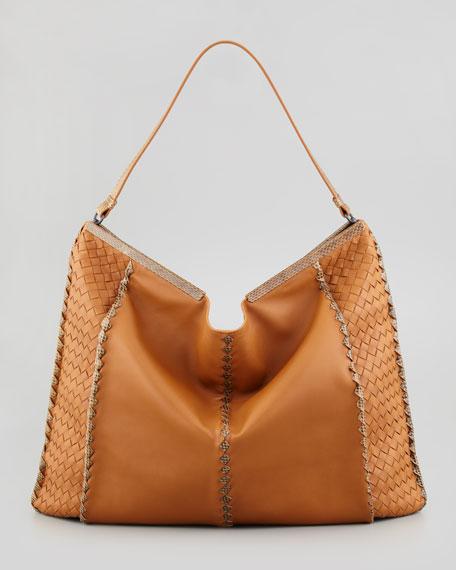 Extra Large Snake-Trimmed Hobo Bag, Dark Camel