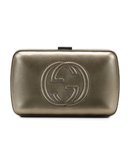 Gucci Broadway Metallic Leather Minaudiere Clutch Bag, Pewter