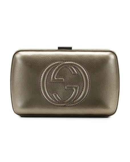 Broadway Metallic Leather Minaudiere Clutch Bag, Pewter