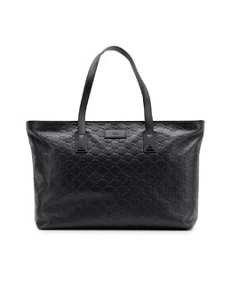 Gucci Guccissima Leather Tote Bag, Black