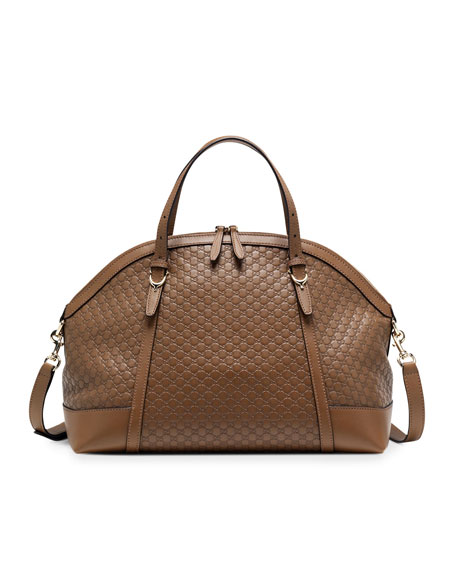 Gucci Nice Microguccissima Top Handle Bag, Medium Brown