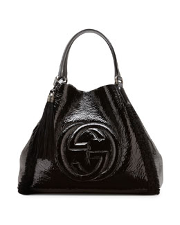 Gucci Soho Crushed Patent Leather Shoulder Bag, Black