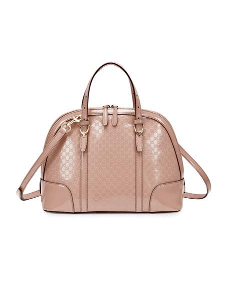 Microguccissima Patent Leather Dome Satchel Bag