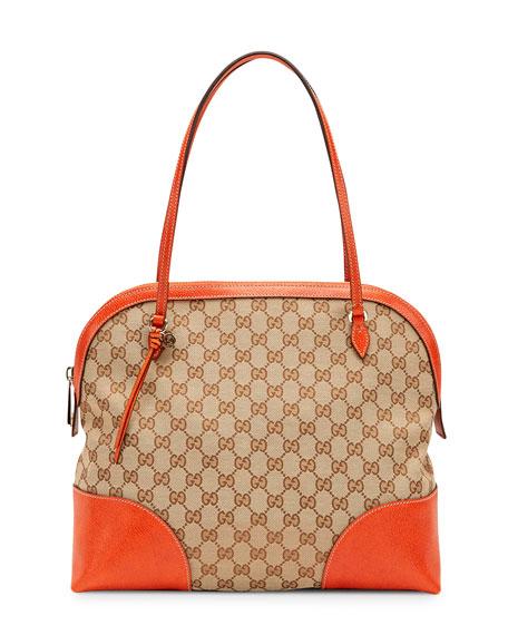 Bree Original GG Canvas Top Handle Bag, Beige/Pumpkin