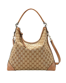 Gucci Miss GG Original Canvas Hobo Bag, Medium Camel