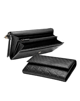 Gucci Bree Guccissima Continental Wallet, Black
