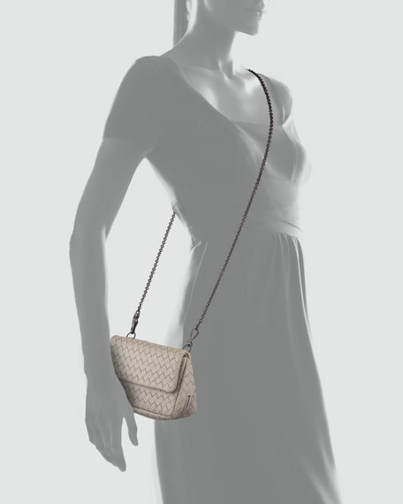 Woven Mini Crossbody Bag, Light Gray