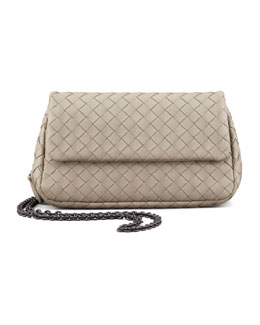 Bottega Veneta Woven Mini Crossbody Bag, Light Gray