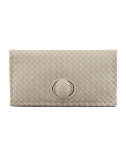 Bottega Veneta Full-Flap Turn-Lock Clutch Bag, Light Gray
