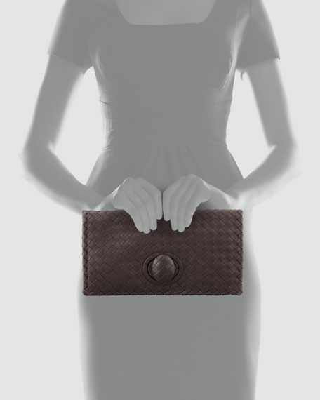 Full-Flap Turnlock Clutch, Dark Brown