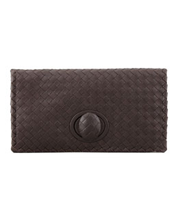 Bottega Veneta Full-Flap Turnlock Clutch, Dark Brown